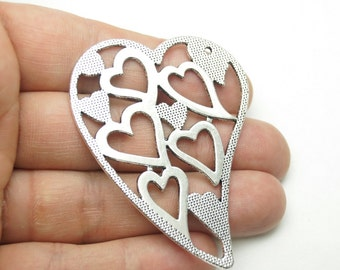 2pcs -Matte Silver Plated Heart Charm-50x60mm-(424-035SP)
