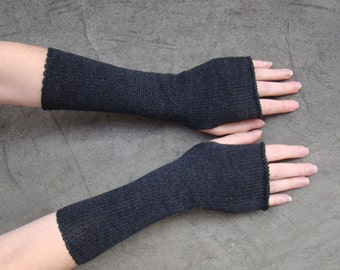 Arm Warmers Mittens Fingerless Gloves Mitaines Dark Charcoal Gray Shade Pure Merino Perfect Gift