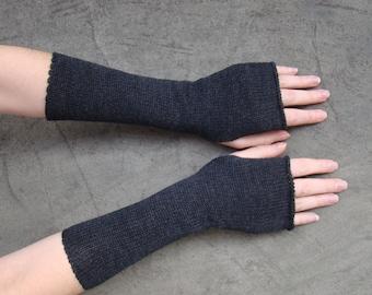 Arm Warmers Mittens Fingerless Gloves Mitaines Dark Charcal Gray Shade Pure Merino Perfect Gift