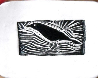 Raven Galaxy Dish - HandMade Rustic Tribal Black Bird Crow Linocut Stamped Small Pottery Tray - Ring, Jewelry, Trinket Holder or Soap Bowl