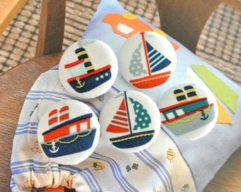 "Fabric Buttons, Large Big Colorful Boat Ship Nautical Marine Fabric Covered Buttons, Toy Nautical Boat Fridge Magnets, Flat Backs, 1.25"" 5's"