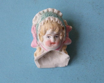 Antique German Doll Head Antique Frozen Charlotte German Doll Head Doll Parts Altered Art Jewelry Making Doll Head