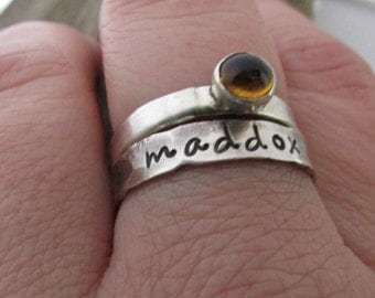 Hand Stamped Jewelry - Stacking Rings - Gemstone Mom Rings  - Sterling silver stackig rings - Personalized Jewelry