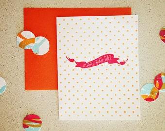 Hoppy Bird Day banner letterpress card