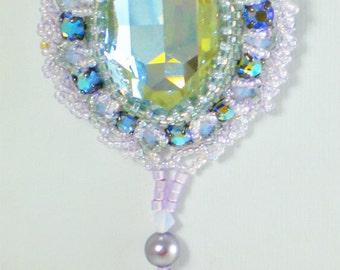 Crystal  Necklace  Swarovski Beadwoven  Beaded Beadwork Grey Purple Silver