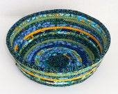 Fabric Coiled Basket in Bright Blue and Green