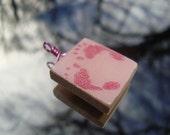 Pink Baby Girl Footprints Scrabble Tile Pendant