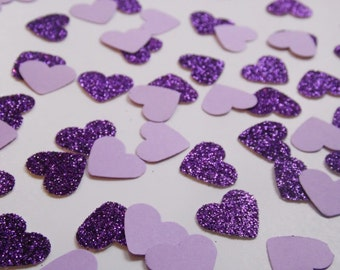 Purple Glitter Heart Confetti, Wedding Reception Decoration, Table Scatter, Paper Confetti, Bridal Shower Decor