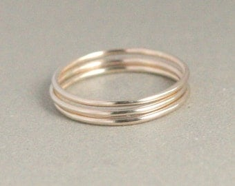 stacking rings. GOLD bands. set of THREE. smooth 14k gold filled thin stack ring. skinny stacking ring. knuckle or midi rings. wedding band.