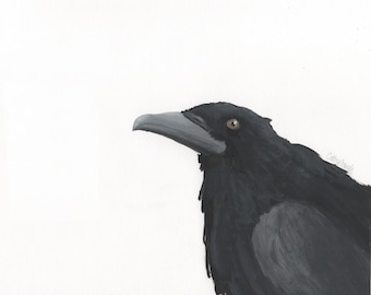 Crow Reproduction Print - Minimal Contemporary Bird Wall Art with White Background