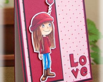 Love On My Mind Handmade Greeting Card
