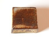 Tiny tile, rust cream colored tile with etched line, miniature