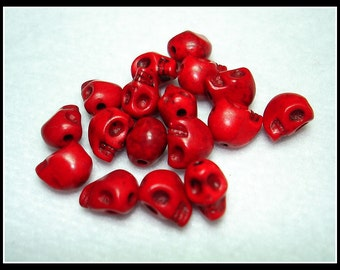 Red Dyed Synthetic Turquoise Skull Beads (Qty 17) - B2567