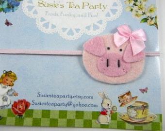 Pink Pig Headband-Skinny Elastic Headband-Farm Headband-felt headband-baby headband