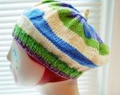 Warm, hand-knit, wool beret for teen girls