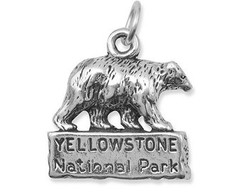 Sterling Silver Yellowstone National Park Charm, Collectible Charm, National Parks, Old Faithful, Recreation Area Charm, Wyoming, Bear Charm