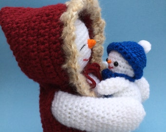 PDF Crochet Pattern for Mommy and Baby Snowman (English only)