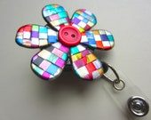 Quilted mosaic flower Badge Reel alligator or belt clip