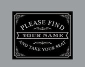 DIY Printable Escort Sign - Vintage Antique Victorian Cottage Chic Rustic Chalkboard Wedding Reception Escort Sign