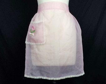 Vintage Sheer Pink Half Apron Flower Pocket