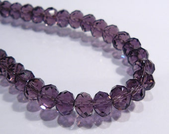 Purple Amethyst Faceted Rondelle Glass Beads....12 Beads.....6x4mm
