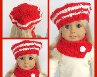 Hand Knit Doll Clothes,  Beret and Cowl Made To Fit American Girl,  Red and White, 18 Inch Doll Clothes
