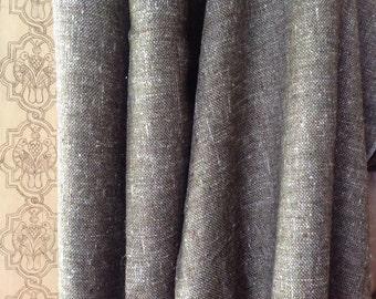 Moss Green Italian Silk Noil Tweed High Fashion Dress fabric with Gold Metallic Thread, unused, skirt or vest yardage