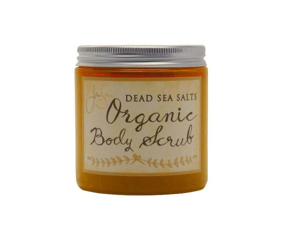Orange Citrus Body Scrub with  Dead Sea Salt and Essential Oils, Vitamin E, small 8 oz - 227 grams