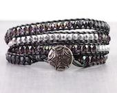 Purple Gypsy Wrap Bracelet Southwestern Jewelry Skinny Wrap Bracelet Gray Leather Gunmetal Bracelet Silver 4x Bohemian Bracelet Goth Jewelry