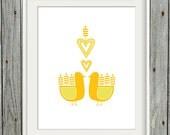 Printable Swedish Love Birds in Yellow - 8x10 Digital Art Print - INSTANT DOWNLOAD