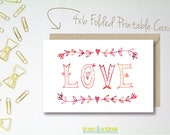 Printable Valentine Day Card Love - 4 x 6 Printable Card - Watercolor Valentine - INSTANT DOWNLOAD