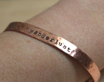 FREE SHIPPING. Hand Stamped Cuff Bracelet. Copper. Personalized