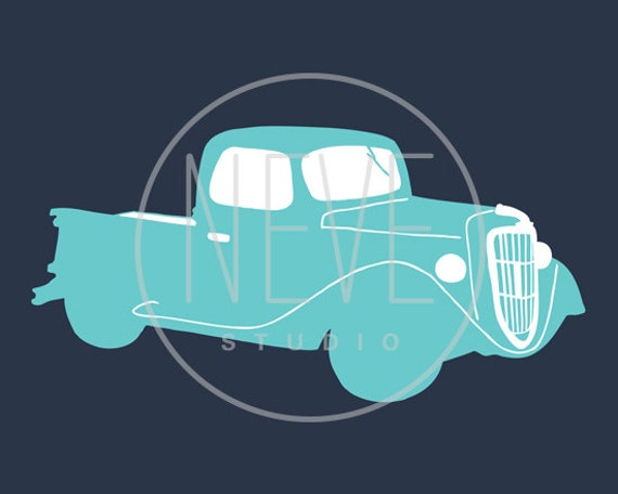 Transportation art, ford truck silhouette 13 x 19 art print - available in different sizes and colors