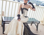Mermaid Wedding Dress - Gothic Bride Steampunk Gown Fishtail Silhouette with Lace - Dark Dance-Custom to Order