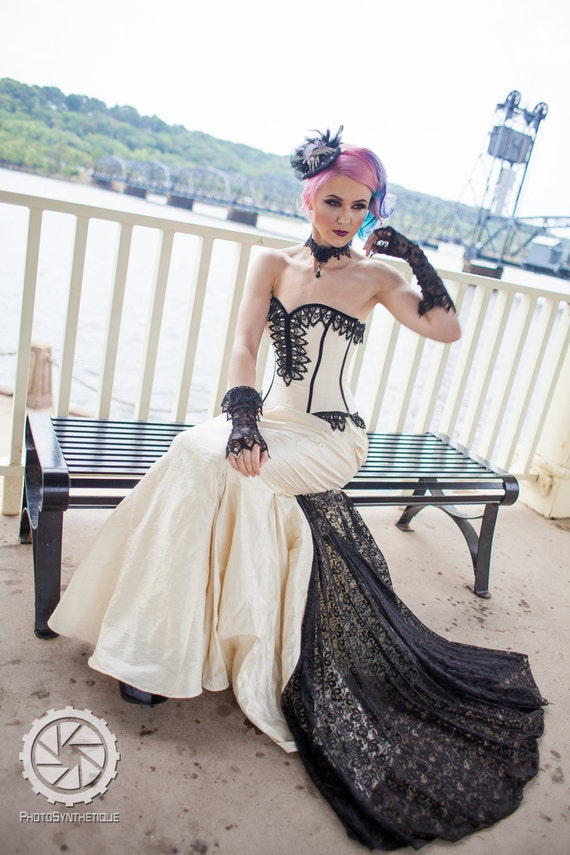 mermaid wedding dress gothic bride steampunk gown fishtail. Black Bedroom Furniture Sets. Home Design Ideas