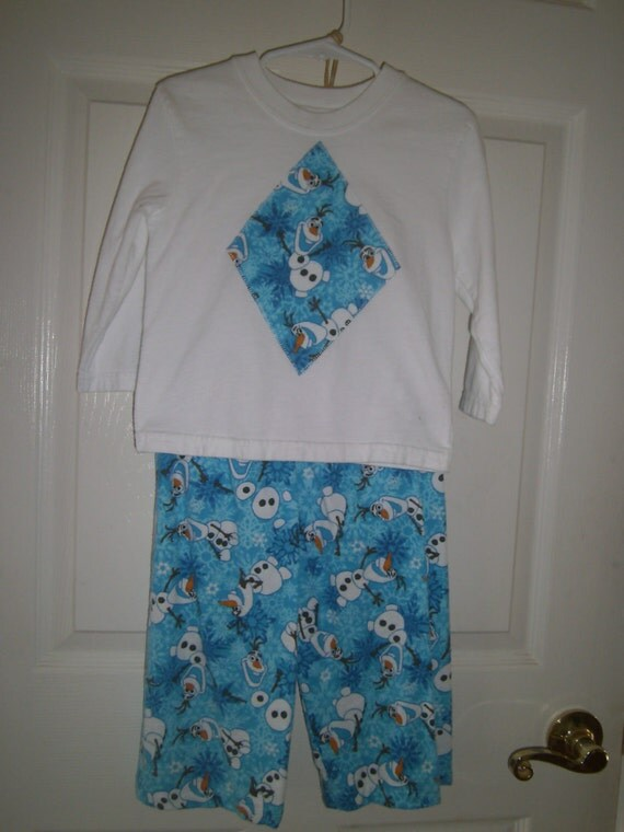 Olaf Disney Children's Lounge wear, Handmade, Boys, Girls, Flannel, Warm, Pants and Long Sleeve shirt, Appliqued Shirt