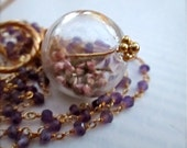 Long Amethyst Gemstone 24k Gold Necklace - Customizable Pendant - Real Flowers - Opera Necklace - Apothecary BOHO Chic - READY to SHIP
