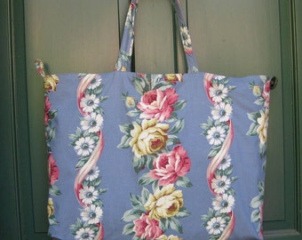 Large Vintage Fabric Tote Bag Purse Market bag