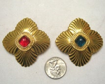 Vintage Poured Glass Gripoi+x Cabochon Fluted Pin Set Christmas Colors