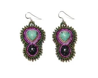 Turquoise and goldstone gemstone beaded earrings