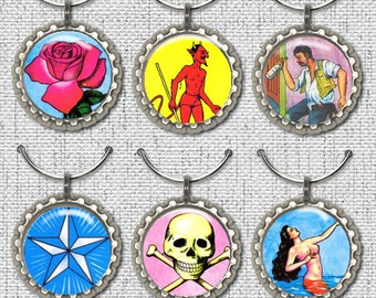 Set of 6 Mexican Loteria Wine Charms Markers