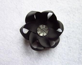 """Black 2.5"""" Flower hair clip, black flower bow, flower hair clip, ribbon flower bow"""