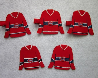 Montreal Canadiens jersey hair bow, Habs Barrette, Habs pin, ribbon jersey hairclip, ribbon habs pin