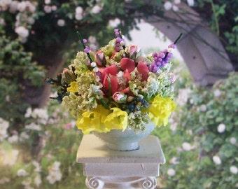 Yellow Pink Floral Arrangement Purple Flowers 1:12 Dollhouse Miniature Artisan
