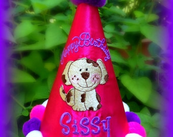 NEW!  Puppy Dog Hat, Girl or Boy, Cake Smash Hat,  by Gingham Bunny Embroidery