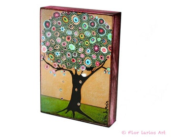 Little White Bird Tree - Giclee print mounted on Wood (5 x 7 inches) Folk Art  by FLOR LARIOS