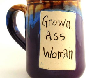 Handmade Pottery Mug ceramics and pottery Grown Ass Woman Purple and Brown by Jewel Pottery
