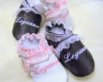 personalized leather baby girl shoes- monogram leather shoes - baptism girl leather shoes -baby girl baptism shoes