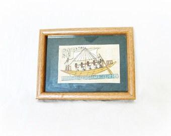 Vintage Egyptian Ink Art Framed Papyrus Hieroglyphics Sea Ship Men