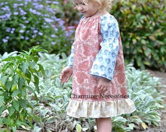 Fall Classic Ruffled Peasant Dress, Toddler Girl Clothes, Thanksgiving Dress, Charming Necessities, Vintage Paisley